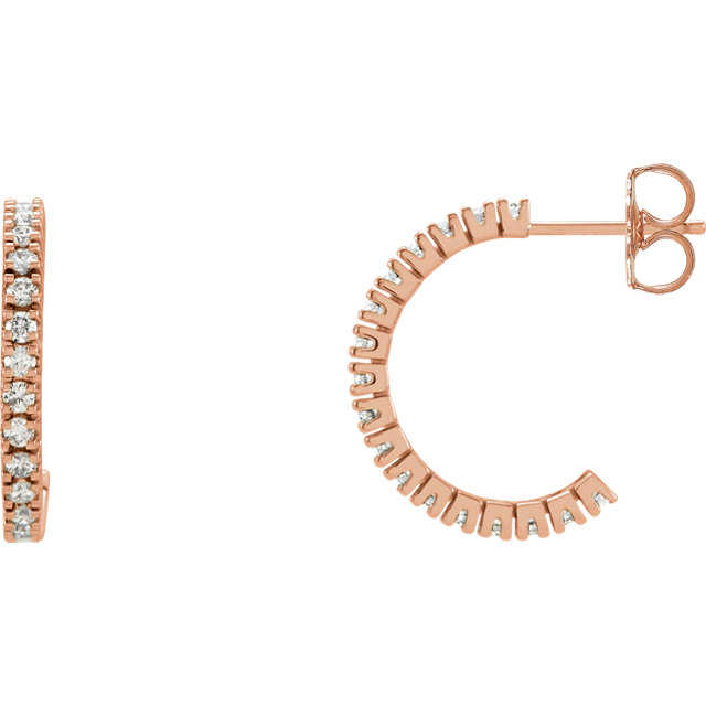 Eye Catching 14 Karat Rose Gold 1/2 Carat Total Weight Round Genuine Diamond Hoop Earrings