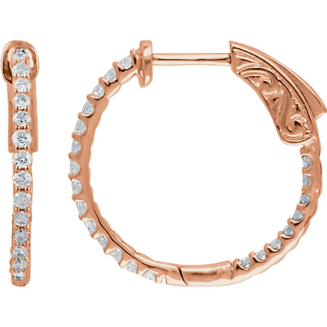 Contemporary 14 Karat Rose Gold 0.50 Carat Total Weight Diamond Inside/Outside Hoop Earrings