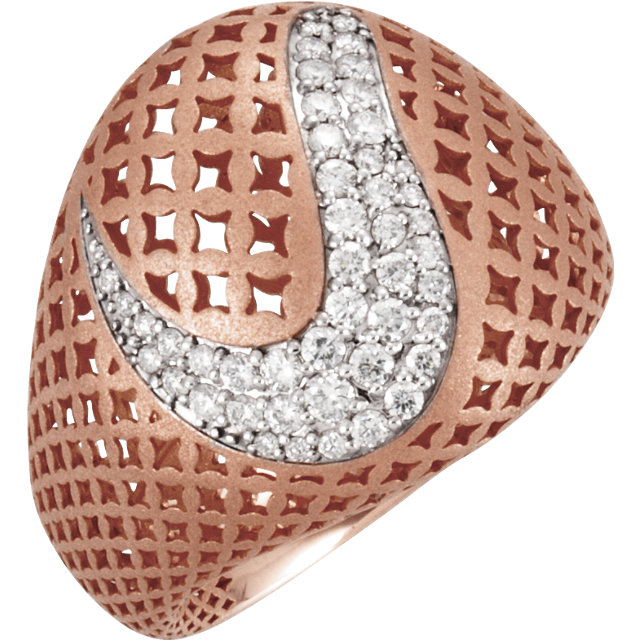 Genuine 14 Karat Rose Gold 0.50 Carat Diamond Pierced Style Ring
