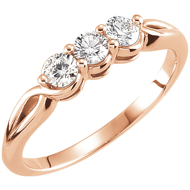 Must See 14 KT Rose Gold 0.50 Carat TW Diamond Three-Stone Ring