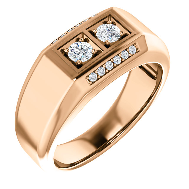 Low Price on Quality 14 KT Rose Gold 0.50 Carat TW Men's Diamond Ring