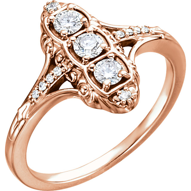 Genuine  14 Karat Rose Gold 0.33 Carat Diamond 3-Stone Ring