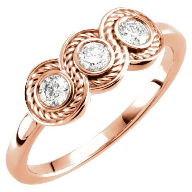 14 Karat Rose Gold 0.33 Carat Diamond Three-Stone Ring