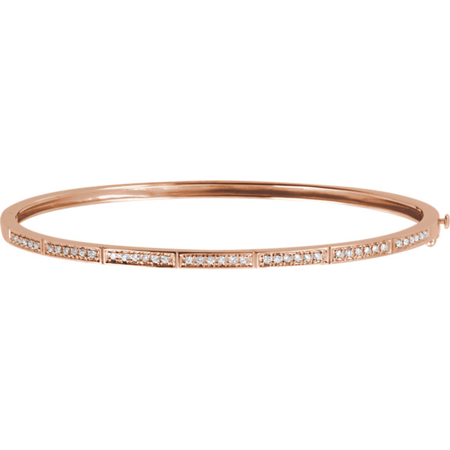 Stunning 14 Karat Rose Gold 1/3 Carat Total Weight Round Genuine Diamond Bangle Bracelet
