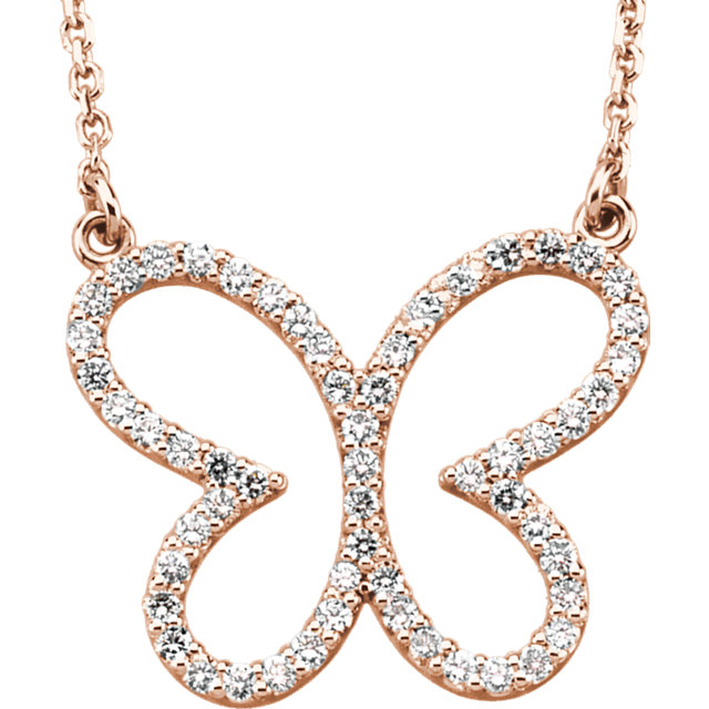Buy Real 14 KT Rose Gold 0.33 Carat TW Diamond Butterfly 16