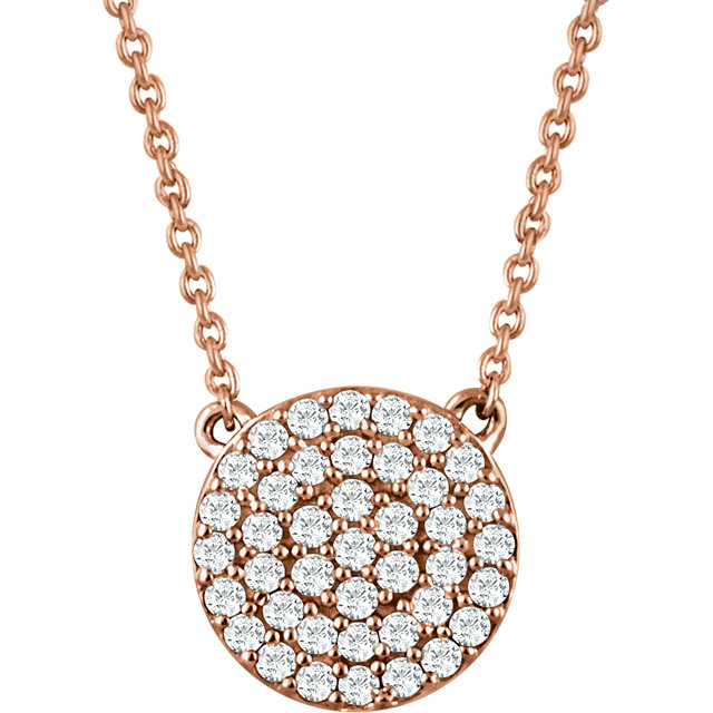 Jewelry Find 14 KT Rose Gold 0.33 Carat TW Diamond Cluster 16-18