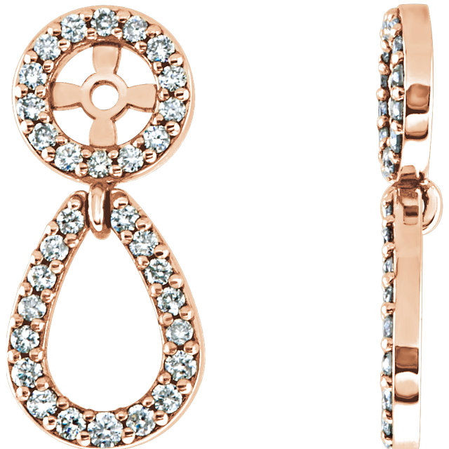 Eye Catchy 14 Karat Rose Gold 0.33 Carat Total Weight Diamond Earring Jackets