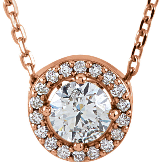 Fine Quality 14 Karat Rose Gold 0.40 Carat Total Weight Diamond Halo-Style 16