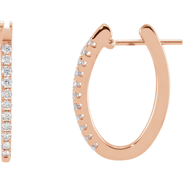 Chic 14 Karat Rose Gold 0.33 Carat Total Weight Diamond Hoop Earrings