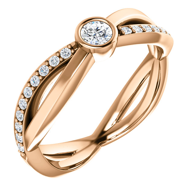 Perfect Gift Idea in 14 Karat Rose Gold 3.4mm Round 0.33 Carat Total Weight Diamond Infinity-Inspired Ring