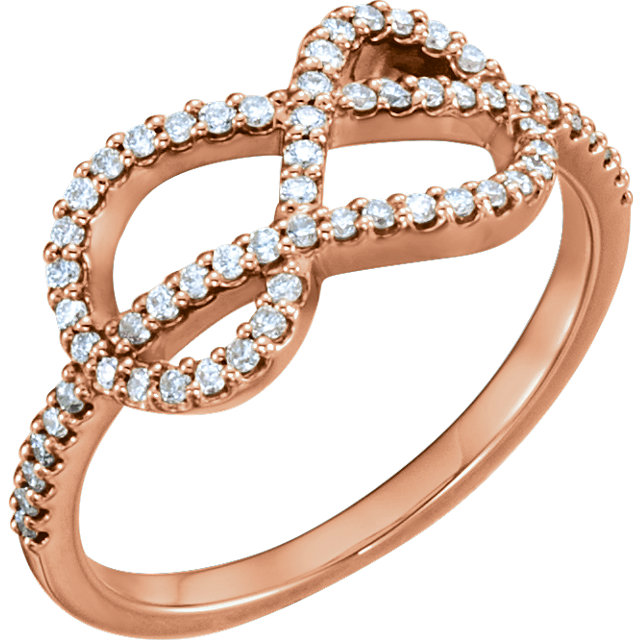 Low Price on Quality 14 KT Rose Gold 0.33 Carat TW Diamond Knot Ring