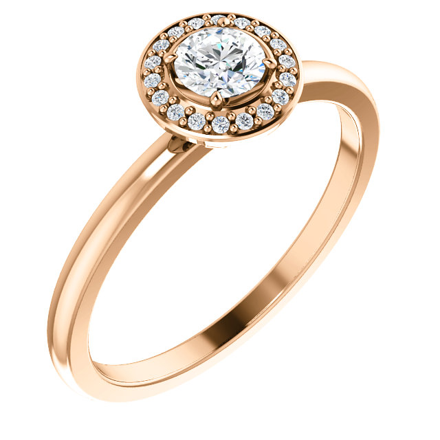 Jewelry Find 14 KT Rose Gold 0.33 Carat TW Diamond Ring