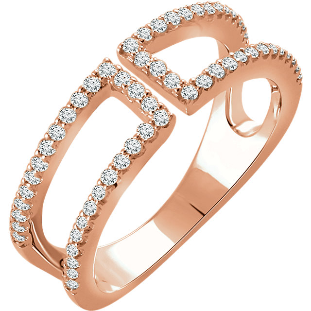 Genuine  14 Karat Rose Gold 0.33 Carat Diamond Ring