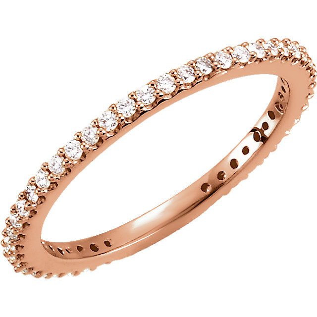 14 KT Rose Gold 1/3 Carat TW Diamond Stackable Ring Size 4.5