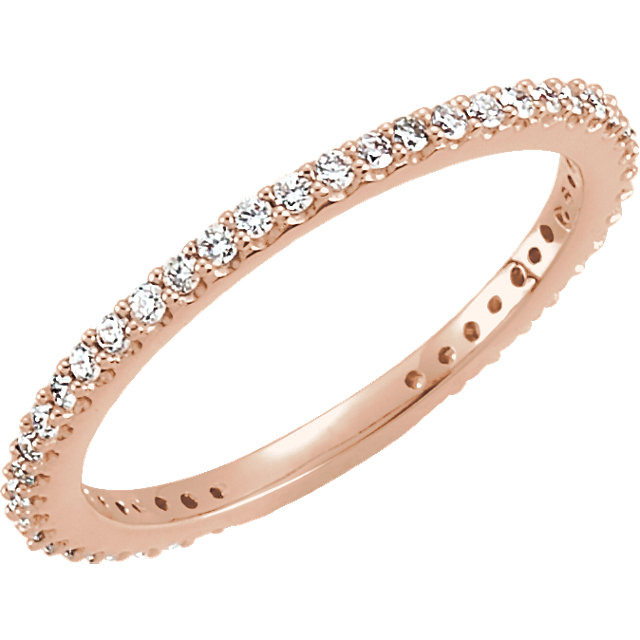 White Diamond Ring in 14 Karat Rose Gold 0.33 Carat Diamond Stackable Ring Size 7