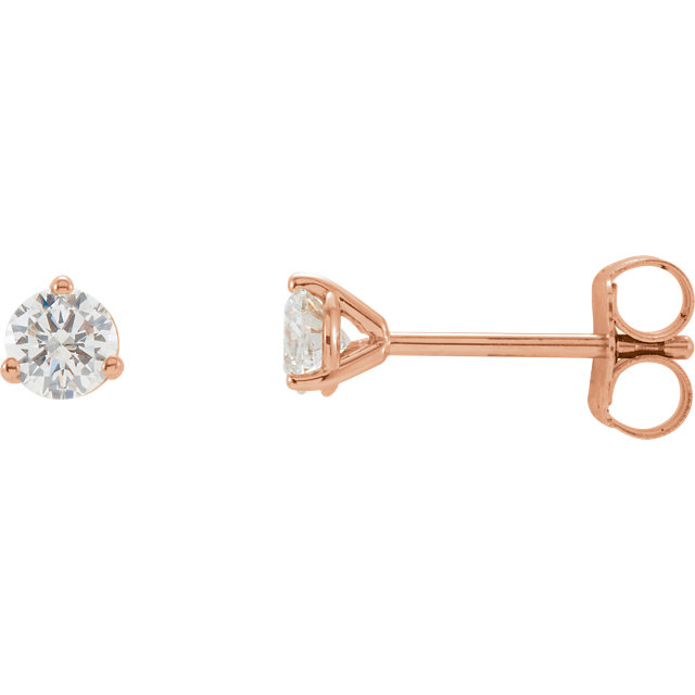 Stylish 14 Karat Rose Gold 1/3 Carat Total Weight Round Genuine Diamond Stud Earrings