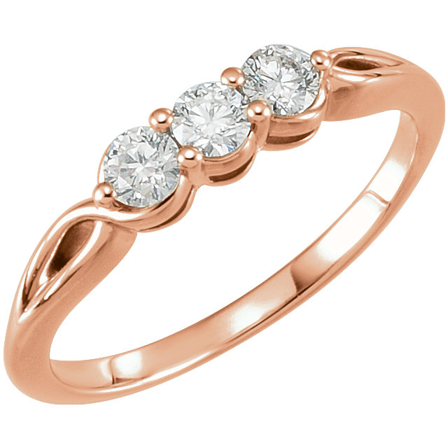 Shop Real 14 KT Rose Gold 0.33 Carat TW Diamond Three-Stone Ring