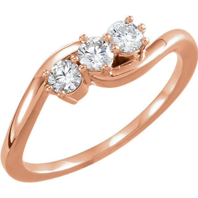 Low Price on 14 KT Rose Gold 0.33 Carat TW Diamond Three-Stone Ring