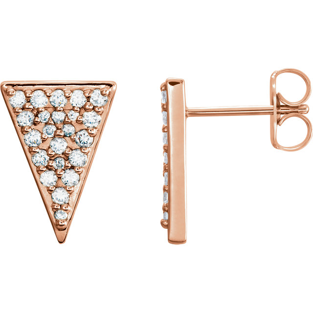 Genuine 14 KT Rose Gold 0.33 Carat TW Diamond Triangle Earrings with Backs