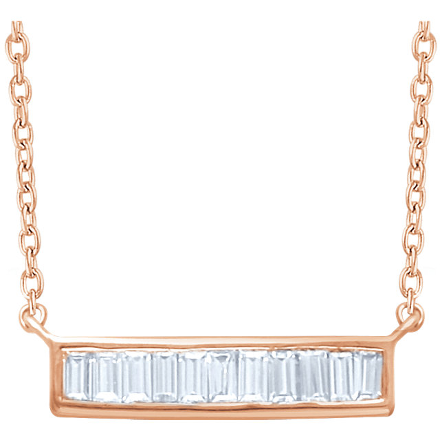Appealing Jewelry in 14 Karat Rose Gold 0.25 Carat Total Weight Diamond Baguette Bar 16-18