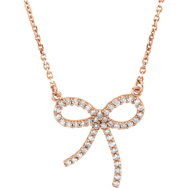 Great Gift in 14 Karat Rose Gold 0.25 Carat Total Weight Diamond Bow 16