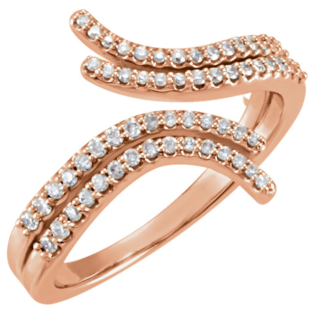 14 Karat Rose Gold 0.25 Carat Diamond Bypass Ring