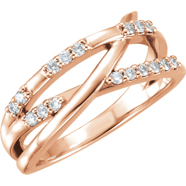 14 Karat Rose Gold 0.25 Carat Diamond Criss-Cross Ring