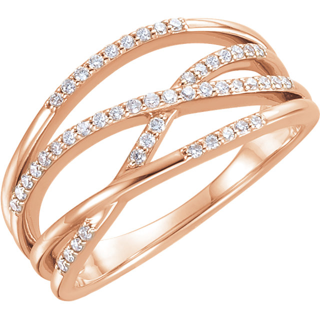 Fine 14 KT Rose Gold 0.20 Carat TW Diamond Criss-Cross Ring