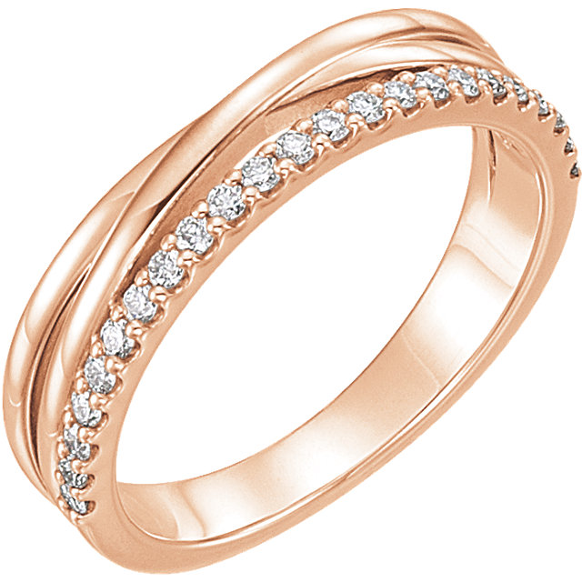 Genuine 14 Karat Rose Gold 0.25 Carat Diamond Criss-Cross Ring
