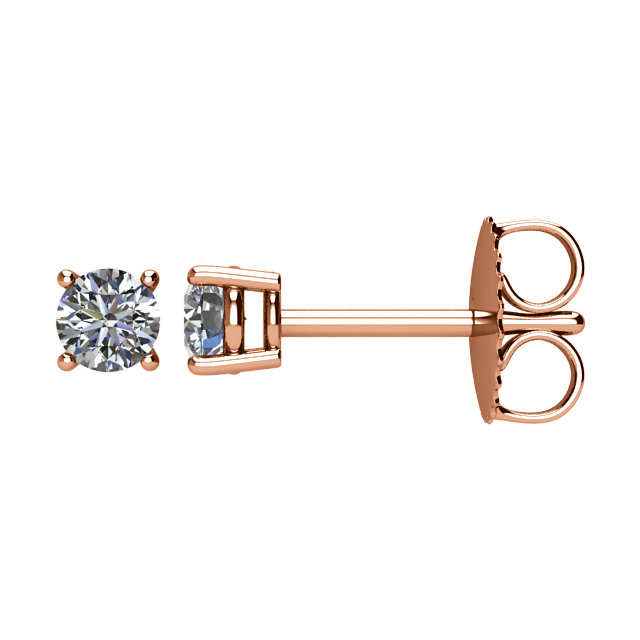 Must See 14 Karat Rose Gold 0.25 Carat Total Weight Diamond Earrings