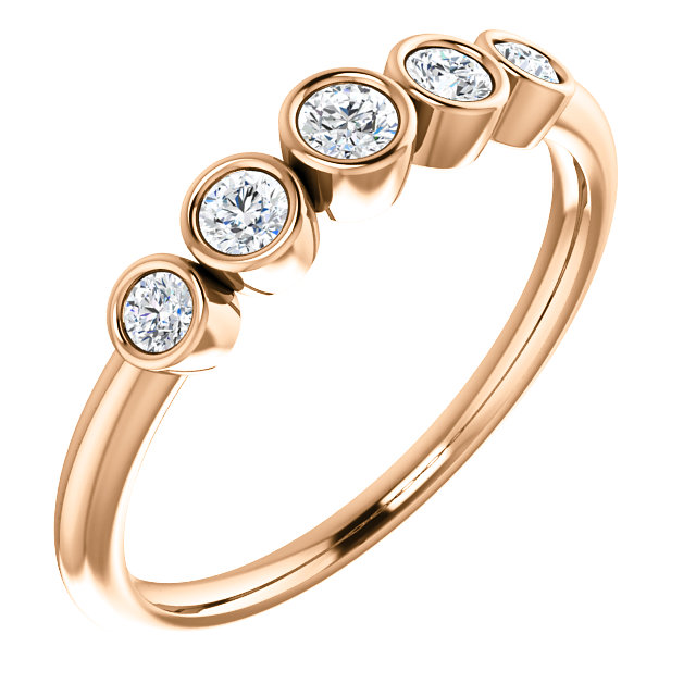 Buy Real 14 KT Rose Gold 0.25 Carat TW Diamond Graduated Bezel-Set Ring