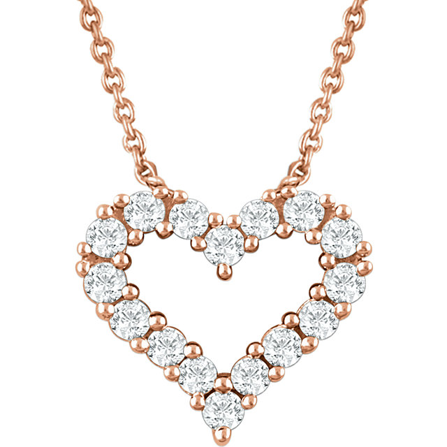 Appealing Jewelry in 14 Karat Rose Gold 0.25 Carat Total Weight Diamond Heart 18