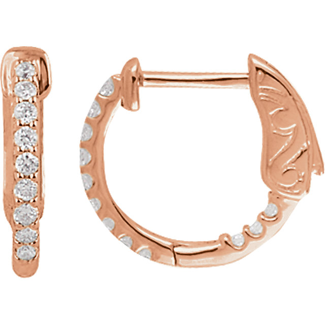 Eye Catchy 14 Karat Rose Gold 0.25 Carat Total Weight Diamond Inside/Outside Hoop Earrings