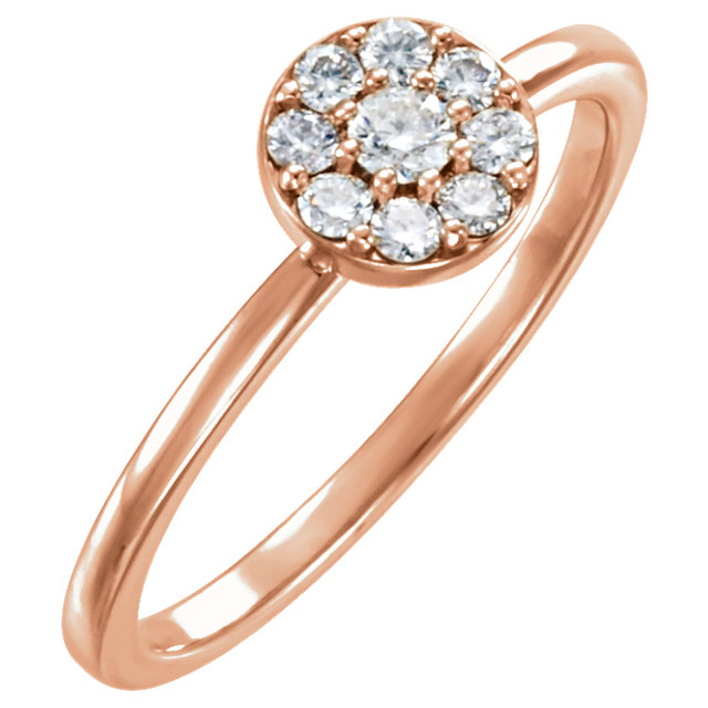 Low Price on Quality 14 KT Rose Gold 0.25 Carat TW Diamond Ring
