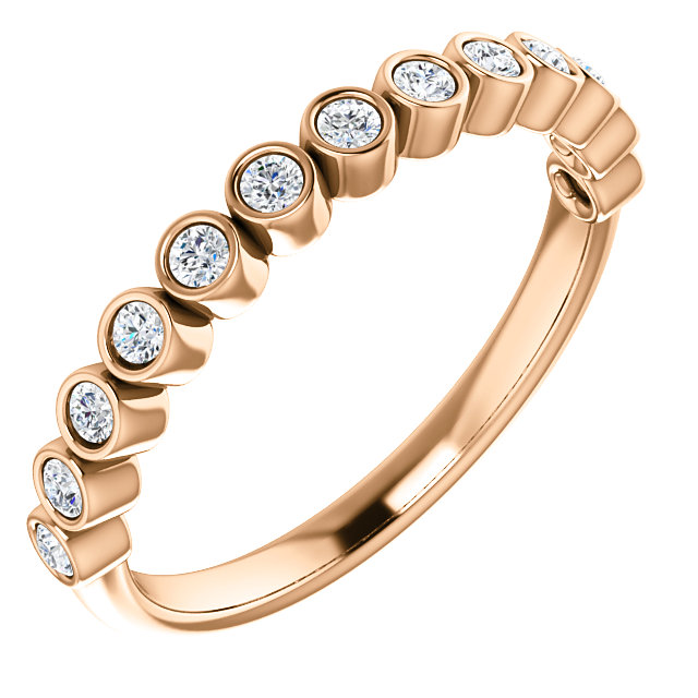 Genuine 14 KT Rose Gold 0.25 Carat TW Diamond Ring