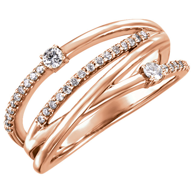 14 Karat Rose Gold 0.25 Carat Diamond Ring