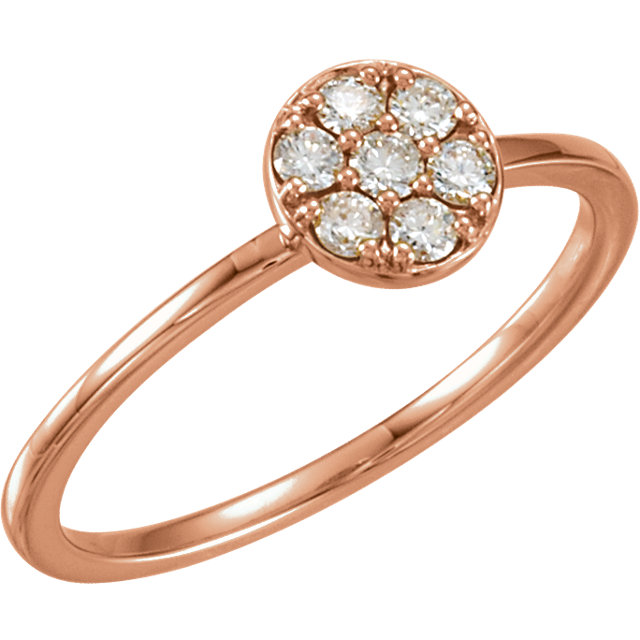 Genuine 14 Karat Rose Gold 0.20 Carat Diamond Stackable Cluster Ring