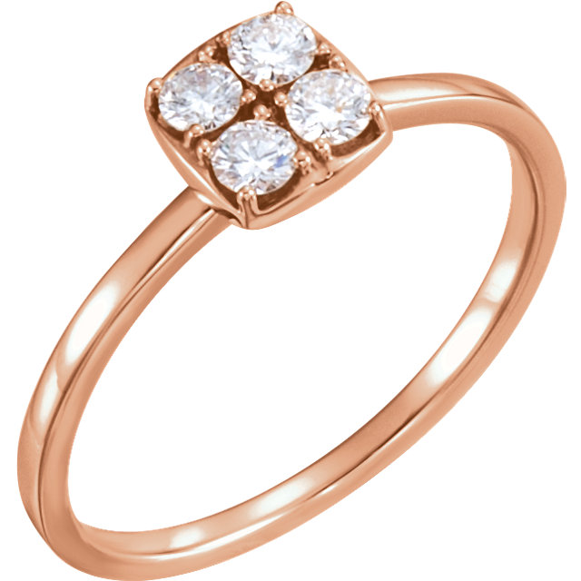 Easy Gift in 14 Karat Rose Gold 0.25 Carat Total Weight Diamond Stackable Ring