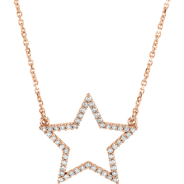 Surprise Her with  14 Karat Rose Gold 0.25 Carat Total Weight Diamond Star 16