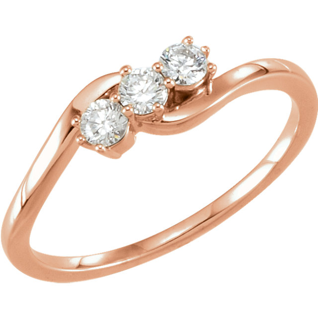 14 Karat Rose Gold 0.25 Carat Diamond Three-Stone Ring