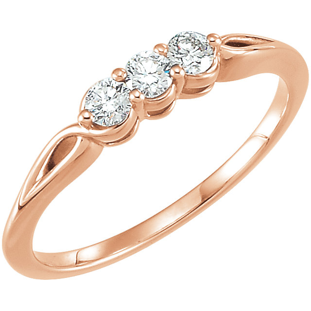 Fine 14 KT Rose Gold 0.25 Carat TW Diamond Three-Stone Ring