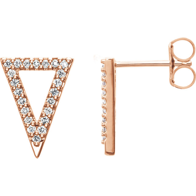 Quality 14 KT Rose Gold 0.25 Carat TW Diamond Triangle Earrings