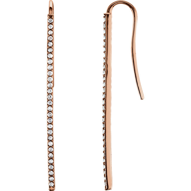 Perfect Gift Idea in 14 Karat Rose Gold 0.25 Carat Total Weight Diamond Vertical Bar Earrings