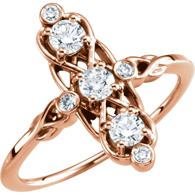 Buy Real 14 KT Rose Gold 0.20 Carat TW Three-Stone Diamond Ring