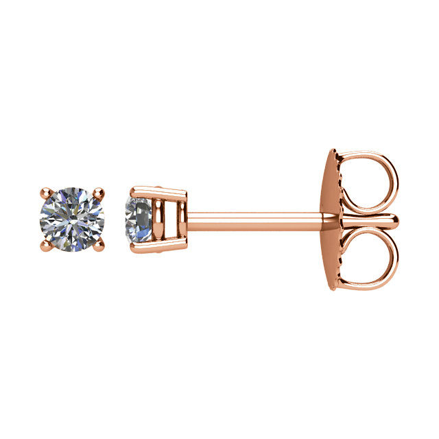 Great Deal in 14 Karat Rose Gold 0.20 Carat Total Weight Diamond Earrings