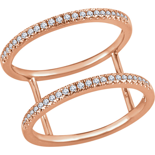 Genuine  14 Karat Rose Gold 0.20 Carat Diamond Freeform Ring