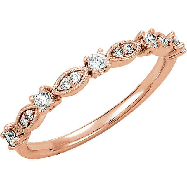 Great Gift in 14 Karat Rose Gold 0.20 Carat Total Weight Diamond Granulated Stackable Ring Size 7