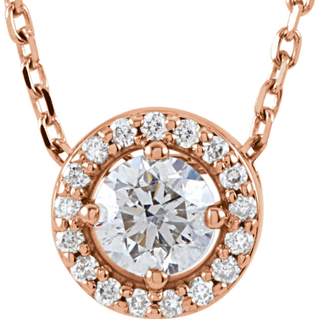 Must See 14 Karat Rose Gold 0.20 Carat Total Weight Diamond Halo-Style 16