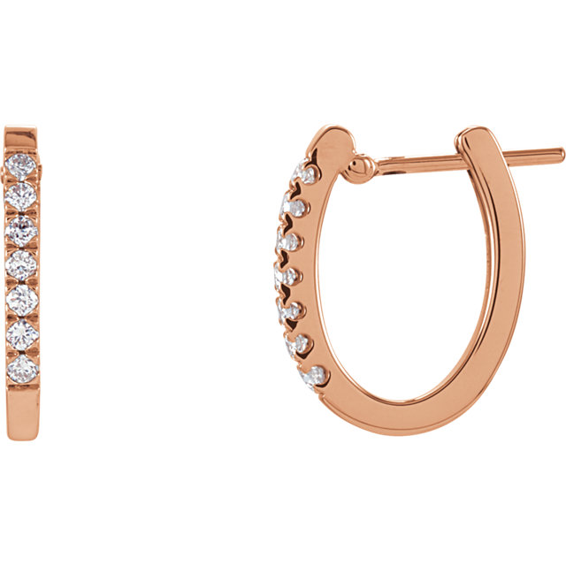 Great Deal in 14 Karat Rose Gold 0.20 Carat Total Weight Diamond Hoop Earrings