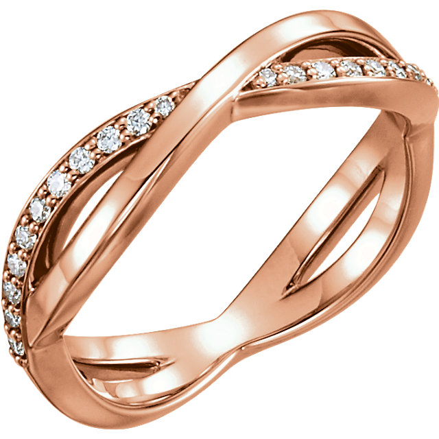 Fine Quality 14 Karat Rose Gold 0.20 Carat Total Weight  Diamond Infinity-Inspired Ring